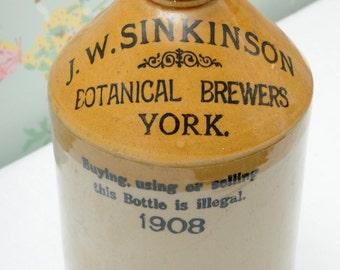 J. W. Sinkinson Botanical Brewers, York Ceramic Stoneware Flagon
