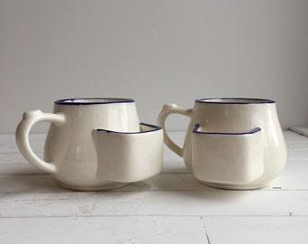 Vintage Pair of Tea Mugs / Handmade White & Blue Teabag Mug