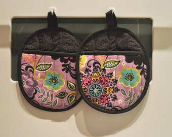 Hot Pads/Pot Holders Purple Flowers and Swirls Ready To Ship
