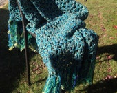 Blue Green Crochet Blanket Throw Afghan with Fringe Thick Bulky Unique One Of A Kind Hippie Boho Gypsy
