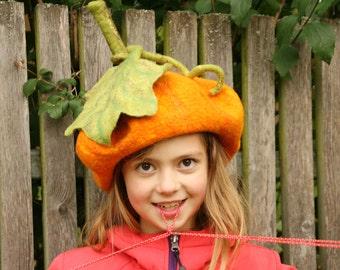 Pumpkin felted hat with steem and leaf - Fancy Dress Hat - Pumpkin costume - Halloween costume - Unique felted hat - Handmade hat