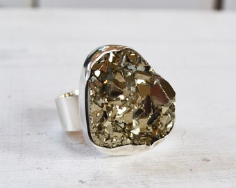 Pyrite Ring, Sparkly Fools Gold Ring, Sterling Silver Ring, Raw Gemstone Statement Ring