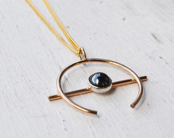 Hematite Orb Necklace, Gold Filled Necklace, Crescent Moon Pendant Necklace, Long Gold Necklace, Stone Necklace, Gold Circle Necklace