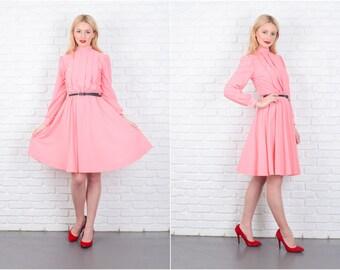 Vintage 80s Pink Retro Dress Puff Sleeve Secretary Knee length Small S 6431