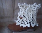 Ready To Ship Ladies Lacy Crochet Cream Leg Warmers/Spats