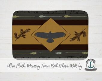 "Plush Bath Mat 34x21"" - Eagle Country Cabin Chic | Plush Memory Foam + Mold Resistant | 34x21"""