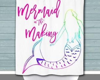 Mermaid Shower Curtain: Mermaid in the Making Nautical Beach House Decor   Made in the USA   12 Hole Fabric Bathroom Decor