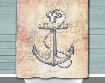 Rockport Shower Curtain: Anchored in Rockport Mass Vintage Map | Made in the USA | 12 Hole Fabric Bathroom Decor