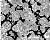 Color Me Fish Frenzy Paisley on Black from Michael Miller's Color Me 3 Fabric Collection
