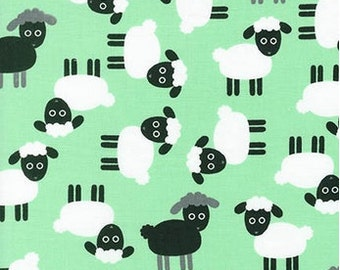 Sheep on Mint Green from Robert Kaufman's Urban Zoologie Collection by Ann Kelle