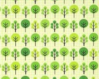 Fat Quarter ONLY - City Centre Trees on Light Green From Robert Kaufman