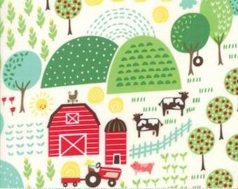 Farm Fun Main Print on Milk White from Moda's Farm Fun Collection by Stacy Iset Hsu