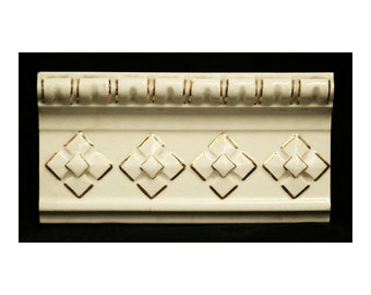Pair of Off White tile with gold geometric pattern