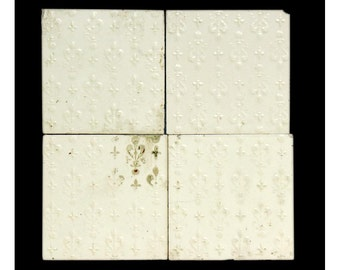 Set of decorative off white tiles