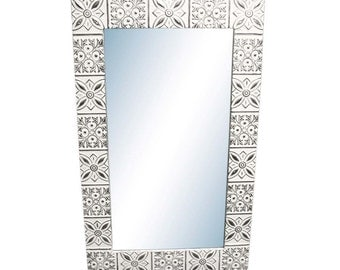 Starflake 4.5 in. tin framed mirror