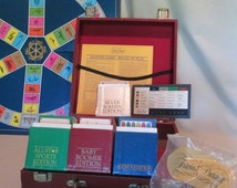 Trivial Pursuit Trunk, Vintage 80's, 4 Sets: All Stars, Baby Boomers, Silver Screen Genius Editions, Trivia Travel Case, Board Games
