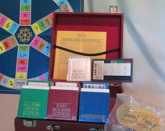 Trivial Pursuit Trunk, Vintage 80's, 4 Sets: All Stars, Baby Boomers, Silver Screen, Genius Editions, Trivia Travel Case, Board Games