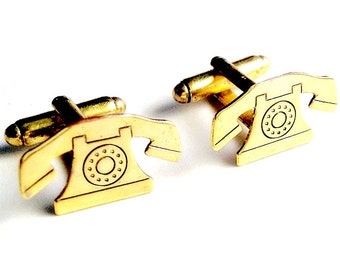 SALE Gold Brass Rotary Phone Cufflinks, Men's Handcrafted Retro Telephone Company Operator Cuff Links- Guys Prom Groom Wedding, Gift for Man