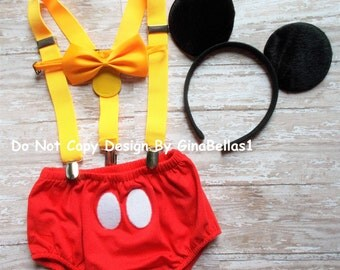 Mickey Mouse Birthday cake smash outfit costume clubhouse suspenders FREE ears diaper cover bow tie bloomer photo prop 12 18 24 m toddler
