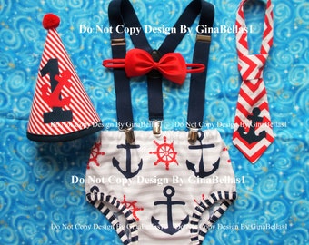 Nautical Birthday cake smash outfit chevron anchor optional suspenders baby boy 1st hat Navy diaper cover bow tie 9 12 18 24 toddler