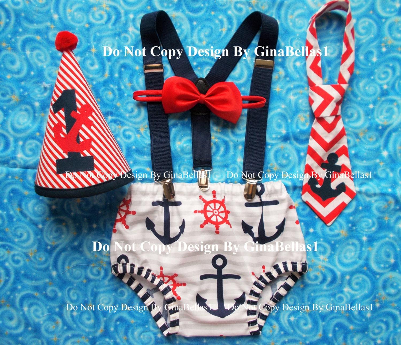 Nautical Birthday Cake Smash Outfit Chevron Anchor Optional
