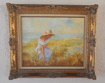 Vintage European Impressionist Landscape Portrait of Woman Oil Painting Art on Board By Neubauer