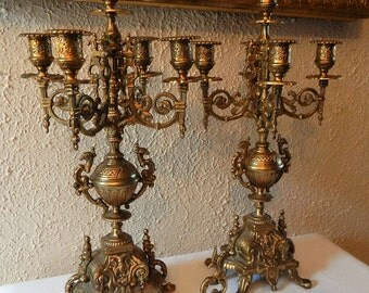 Antique Vintage Victorian Style 5 Arm Ornate Brass Candelabras w/Snuffer Home Decor Interior Design