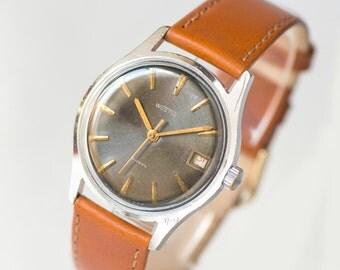Men's wristwatch black, Soviet men watch WOSTOK, shockproof gent's watch, minimalist men watch dust protected, premium leather strap new