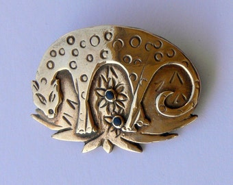 sterling with gold overlay cat brooch