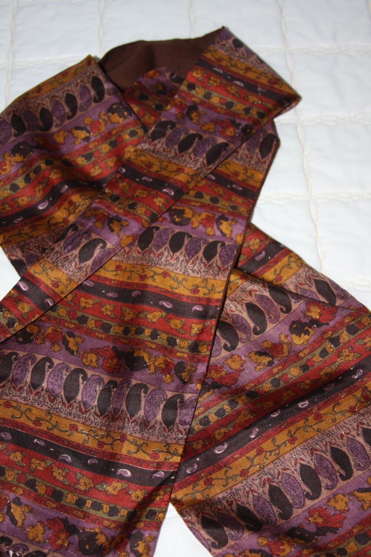 designer coat silk wool scarf dusty lavender brown gold