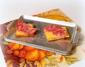 HEART SALE Vintage Pewter Canapé Trays - Floral Design - Set of 4 - Individual Serving Trays - Hors d'œuvre Accessories