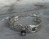 Spoon Jewelry - Spoon Bracelet - Eternally Yours - Upcycled Vintage Silverplate Spoon Handles - Regal Purple Czech Glass Bead (0xxxx-LV)