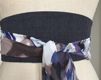 Work Attire gray obi belt, Gray suiting obi sash belt, graphic print obi belt, periwinkle blue obi sash, reversible obi belt sash