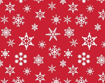 Riley Blake Christmas Fabric by the yard Snowflakes in Red 1 yard