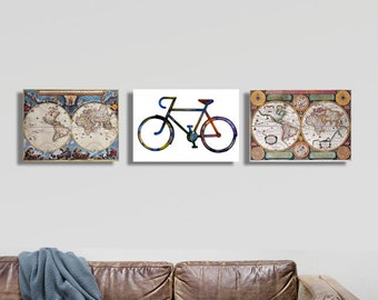 Wanderlust,Fashion bicycle,vintage bicycles,3 art canvases ,ancient history,warm and golden color, modern home decor,travel lovers