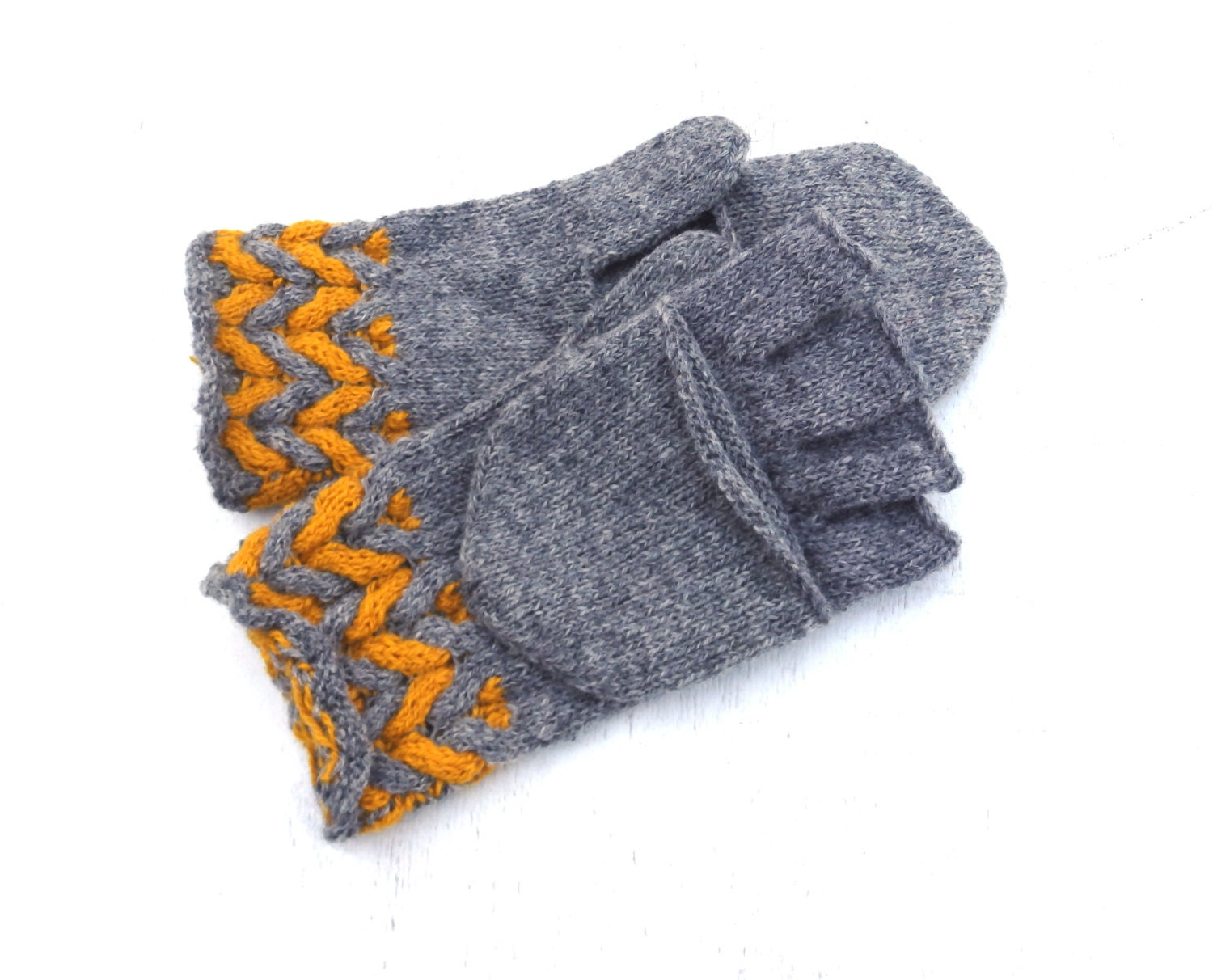 Hand knitted convertible gloves knit gray wool hooded gloves