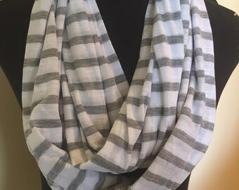 New Gray and White Striped Stretch Knit Infinity Scarf