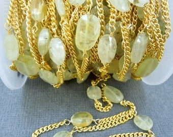 35% off Wholesale Prehnite Wire-Wrapped Chain-- Prehnite Beads on Wire-wrapped Gold Plated Chain-- PER FOOT chn-139
