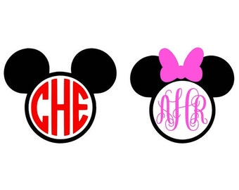Mickey Mouse Monogram Svg, Minnie Mouse Monogram Svg, Monogram Frames, Svg Cut Files, Cricut Cut Files, Silhouette Cut Files, Disney Svg