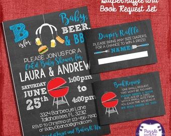BBQ Baby Shower Invitation Set Blue Style -Invite + Diaper Raffle Ticket + Book Request  - Chalkboard Style - I design you print