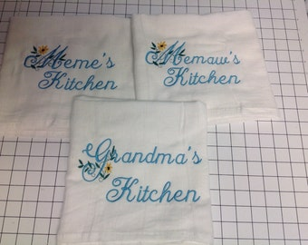 Kitchen towel, personalized, flour sack towel, grandma's kitchen, kitchen decor, embroidered towels