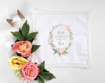Tea Rose Wreath Mother of the Bride Handkerchief.  Lace edge Handkerchief. Mother of the Bride Handkerchief.  Wedding Handkerchief