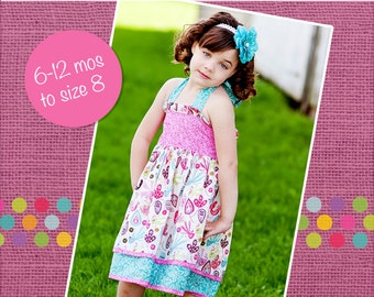 Katy's Double Layer Ruffle Bodice Dress PDF Pattern size 6/12 months to size 8
