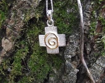 Newgrange Spiral Pagan cross pendant