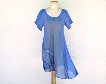 Long blue linen tunic S size, OOAK woman unique fashion design, flax clothing, hemp blouse asymmetric by ZOJKA pure nature eco art to wear 5