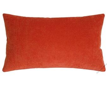 "Orange Velvet Decorative Throw Pillow Cover / Pillow Case / Cushion Cover / 12x16"""