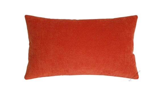 Orange Velvet Decorative Throw Pillow Cover / Pillow Case