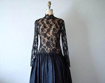 Lace illusion dress . vintage black lace dress . 1980s dress