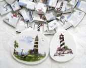 Broken China MOSAIC Tiles - Beach Nautical LIGHTHOUSE - Recycled Plates