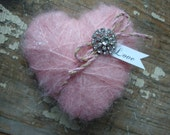 Tattered Heart of Glittered Soft Pink with Vintage Rhinestones and Love Tag